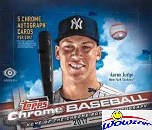 (2017 Topps Chrome Baseball MASSIVE Factory Sealed HOBBY JUMBO Box with FIVE(5) AUTOGRAPHS!Look for Rookies,Refractors & Autographs of Aaron Judge, Cody Bellinger & More! WOWZZER!)