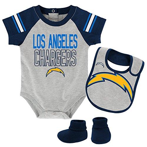 Outerstuff NFL Infant Blitz Onesie, Bib and Bootie Set-Heather Grey-12 Months, Los Angeles -