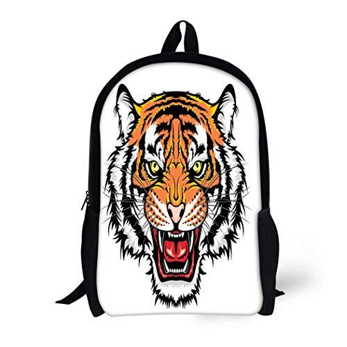 Pinbeam Backpack Travel Daypack Tattoo Tiger Head Face Lion Animal Eyes Monster Waterproof School -