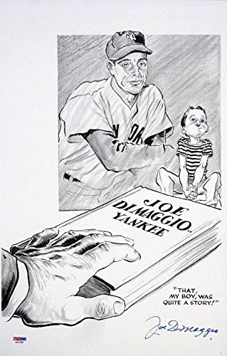 Joe DiMaggio Autographed Signed 11x17 Sketch Lithograph #AA01898 PSA/DNA Certified Autographed MLB Art
