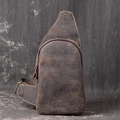 hongrun En cuir pour hommes loisirs plein air pack poitrine monter ensemble rampe linéaire d'un baudrier de cuir mad petit sac