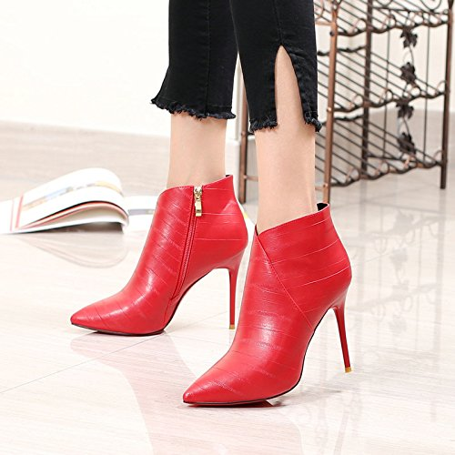 four Thirty Europeas Y Zapatos Marea Moda Martin Mujeres Mujeres Corto autumn Americanas Khskx Simple Las Rojo Invierno Sharp Thirty Botas Temperamento De Fino eight wBngfPqx