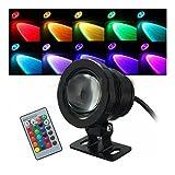 (Black) 10W RGB LED Light Fountain Pool Pond Spotlight Underwater Waterproof + Remote