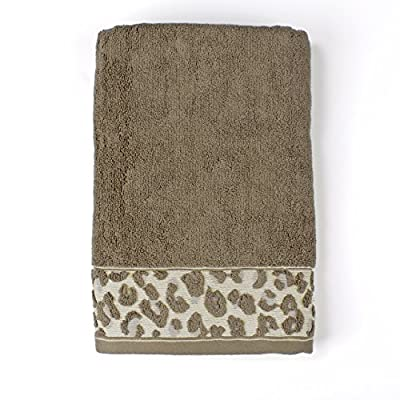 "Saturday Knight Zanzibar Bathroom Shower Collection - Bath Towel - THE ZANZIBAR LEOPARD PRINT IS A WILD WAY TO DECORATE YOUR BATHROOM. The Zanzibar 100% cotton bath towel is a chocolate brown towel with a bottom band of leopard print and a hint of blue. Dimensions: 25"" x 24"" - bathroom-linens, bathroom, bath-towels - 51ArptcC%2B7L. SS400  -"