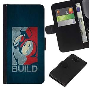iBinBang / Flip Funda de Cuero Case Cover - Construir - cartel Retro - Samsung ALPHA G850