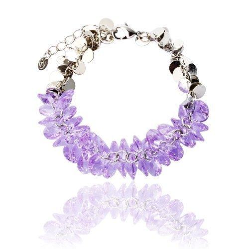 Czech Beaded Necklace (Swarovski Crystallized Elements Bracelet, Cluster of Precious Swarovski Beads on Fine Jewellery Chain - Amethyst, Janeo Bangles & Bracelets)