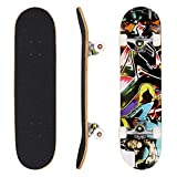 31' Complete Skateboard Double Kick Wood PRO Skate Board | Birthday Present for Children Boys Girls 4 Up Years Old