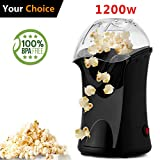 Hot Air Popcorn Maker Electric,Popcorn Machine,Popcorn Popper 1200W(US STOCK) (Black)