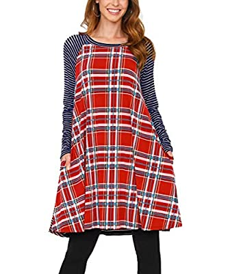 TrendyQueen Women's Color Block Long Sleeve Plaid Shift Dress Casual Swing Dress with Pockets