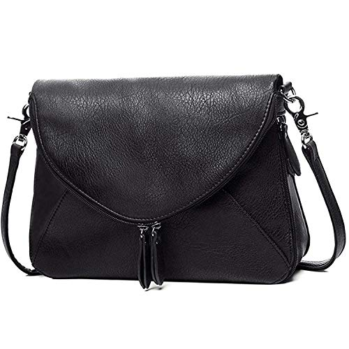AMELIE GALANTI Crossbody Bags for Women, Medium Purses and Handbags Zipper Shoulder Bags Satchel with PU Leather Flap and Adjustable Strap Black