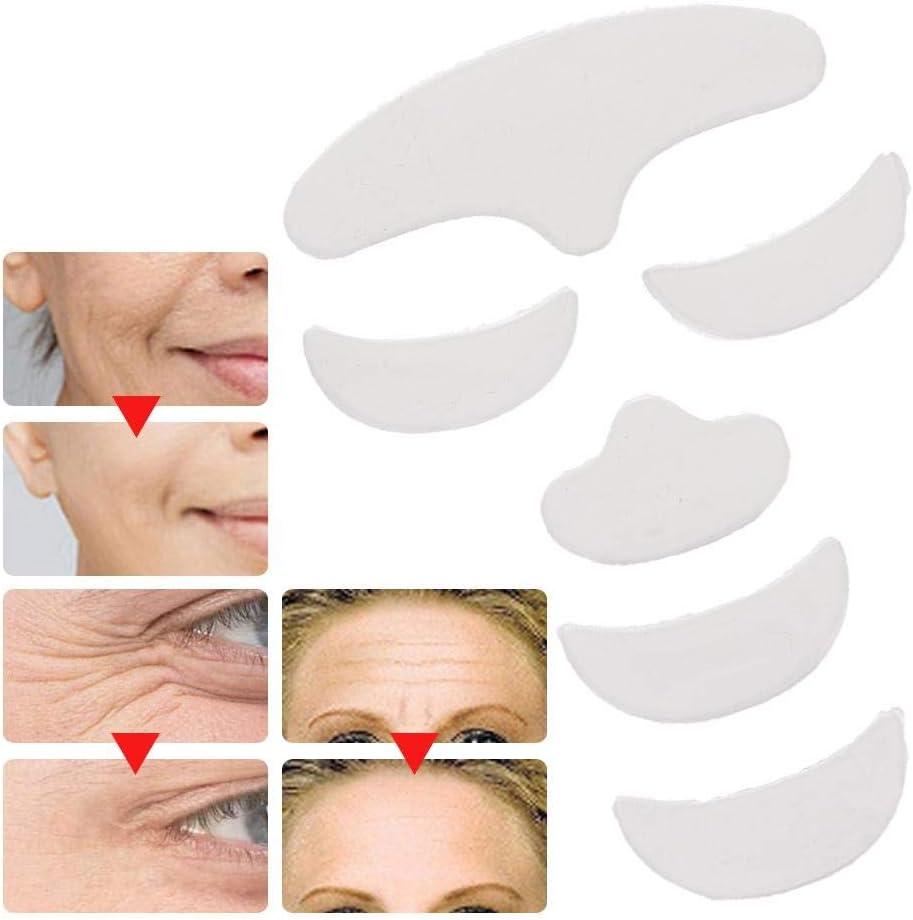 Antiarrugas 6Pcs Antiarrugas Almohadilla de parche de silicona Levantamiento de la piel Frente reutilizable Ojo Parche de cara de barbilla