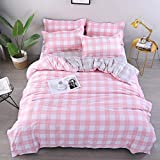 Bedding Sets Chickwin Duvet Cover Set Polyester Microfiber Printing Simple Square Pattern Single Double King Size Bedding Sets 3Pcs, 1*duvet cover 2* matching pillowcases For Kids and Family (King 220x230cm, pink)