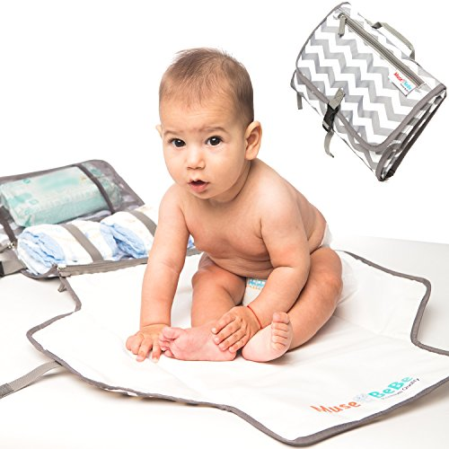 MuseBeBe ~ Portable Changing Pad & Diaper Changing Station | 2-in-1 Detachable Mat & Compact Bag | The Stylish Diaper Clutch for Modern Moms