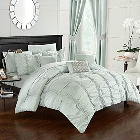 Chic Home Tori 10 Piece Comforter Bag Ruffled Pinch Pleat Embellished Design Complete Bedding Set-Sheets Decorative Pillows Shams Included Queen Beige CS2566-AN