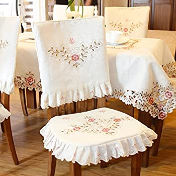 Pink flower embroidered light yellow spring floral chair back cover and cushion cover