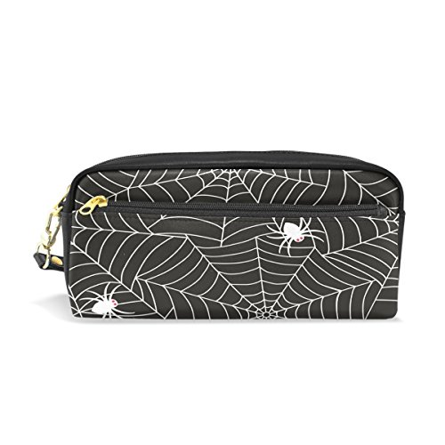 Pencil Case,Cicily Halloween Spider Web PU Leather Durable Pencil Pen holder Pouch Stationery bag Coin Purse Cosmetic Makeup bag Small (Halloween Makeup Web)