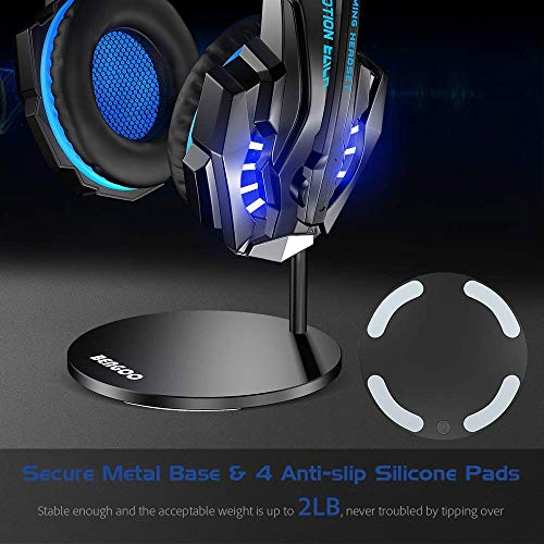 Large Product Image of BENGOO Gaming Headset Headphone Stand for PC PS4 Xbox One Headset, Aluminum Headset Holder Headphones Display Stand Mount for Desk - Black (Not Included Headset)