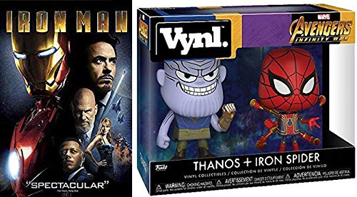 Iron Everything- Gauntlet, Suit, Man (Vynl Figures + DVD Bundle) Marvel's Iron Man Avengers Infinity War Thanos & Iron Spider Vynl