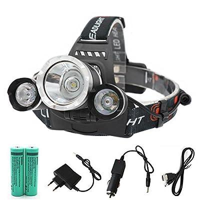 CFORMAC® - Lampe frontale Lampe de poche 3T6 8000 Lumens 3 x Lampe Cree XM-L T6 Lampe à tête haute puissance Lampe torche frontale Lampe torche + chargeur + chargeur de voiture