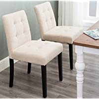 Harper&Bright Designs set of 2 Stylish Tufted Upholstered Fabric Dining Chairs with Solid Wood Legs (Beige)