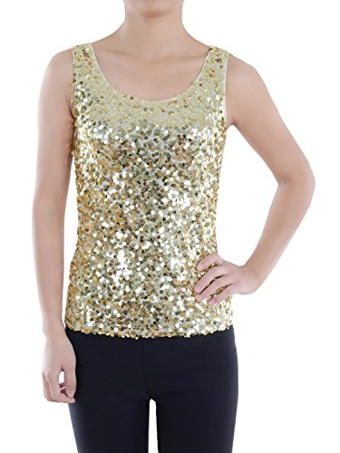 (Anna-Kaci Womens Gold Beaded Sequins Slim Fit Sparkly Embellished Vest Tank Top, Small)