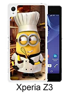 Sony Xperia Z3 Case ,Fashion And Unique Designed Sony Xperia Z3 Case With Minion-Chef White Hight Quality Cover