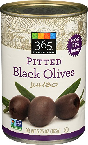 Medium Olives Pitted Black (365 Everyday Value, Pitted Black Olives Jumbo, 5.75 Ounce)