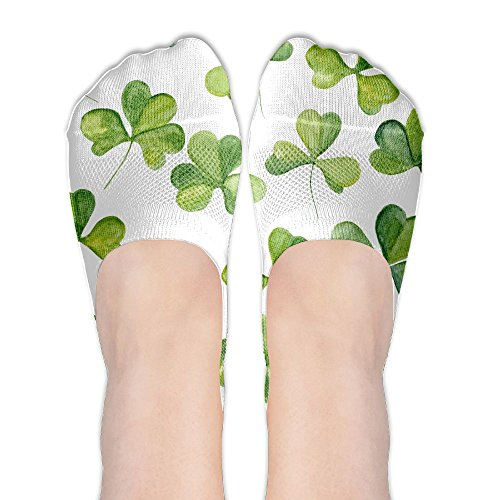 Lucky Clover Polyester Cotton Stylish No Show Sock Low Cut Boat Socks Non Slip Casual Socks For - Beech Blizzard