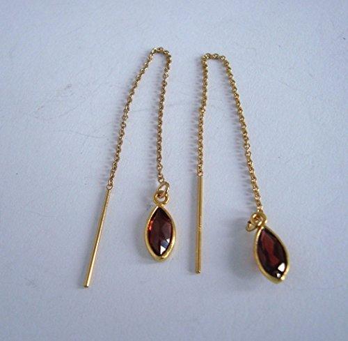 garnet January birthstone 14k yellow gold filled chain earrings