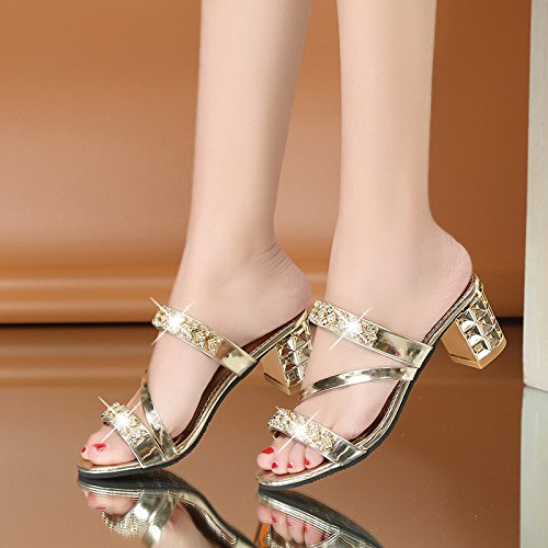AWXJX Frauen Flip Flops High Heel Dick mit US/37.5 Casual Atmungsaktiv Golden 7 US/37.5 mit EU/4.5 UK - cff0c0