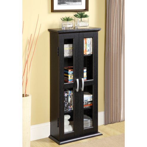 Black Double Multimedia Storage Tower - Walker Edison 41