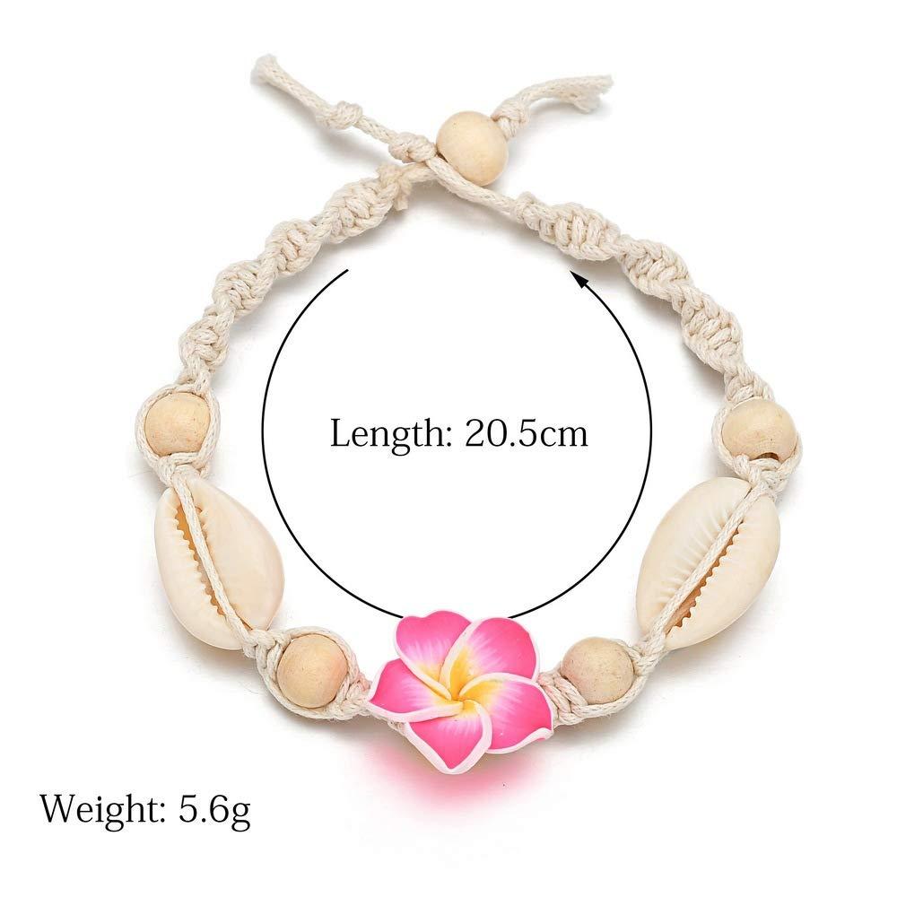 Hawaiian Hemp Flower Shell Anklet Bracelet for Women Girl