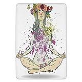 Bathroom Bath Rug Kitchen Floor Mat Carpet,Yoga,Girl with Floral Wreath Sitting in Lotus Pose Color Splashes Levitation Meditation Decorative,Multicolor,Flannel Microfiber Non-slip Soft Absorbent