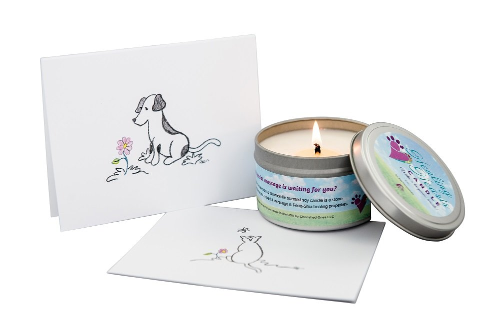 Dog Card and Healing Hearts Pet Memorial Candle by Pet Perennials love - seeds - life (Image #8)