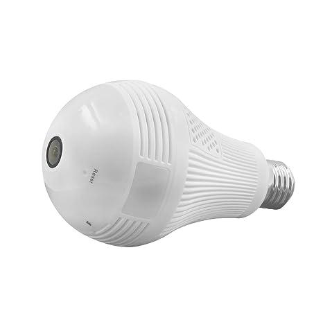 Bombilla marca WEESEE, led, de ángulo amplio con ojo de pez, wifi, ip oculta, 1080P, hd, cámara de seguridad para interior espía ...