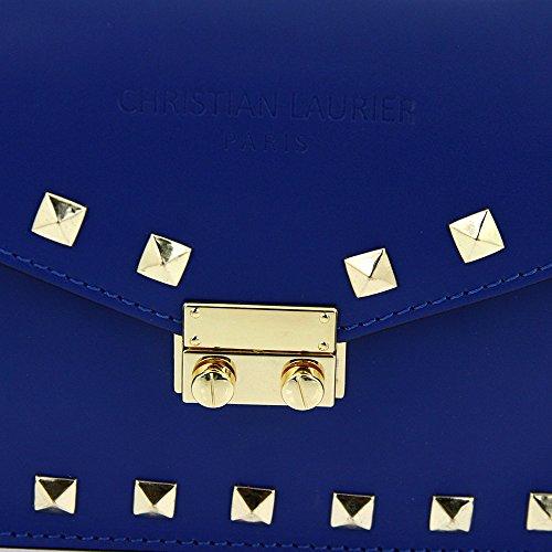 Christian Laurier - Sac à main en cuir modèle Nickie Bleu électrique - Sac à main minaudière haut de gamme fabriqué en Italie en cuir véritable