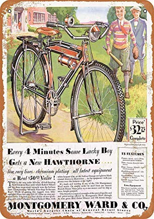Montgomery Ward Hawthorne Bicycles Retro Vintage Metal Signs Wall Art Metal Tin Sign Plaque for Man Cave Grage Farmhouse Decor 8