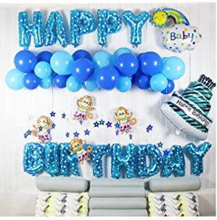 Acryls Click Sort Birthday Series 100 Massive Pieces Blue Happy Decorations
