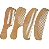 Image of LCLHB 4PCS Natural Wooden Wide Tooth Beard and Hair Combs Set For Men and Women (6.5-7 Inch Length)