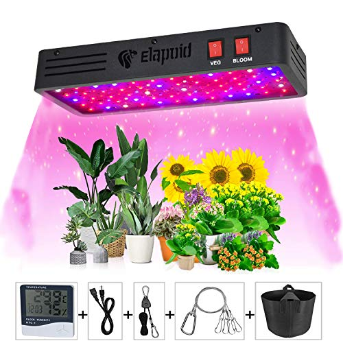 600W LED Grow Lights,ELAPOID Full Spectrum Plant Light,Dual Chips Grow Lamp for Hydroponic Indoor Plants Veg and Flower,with Daisy Chain Function(Actual Power 125W)