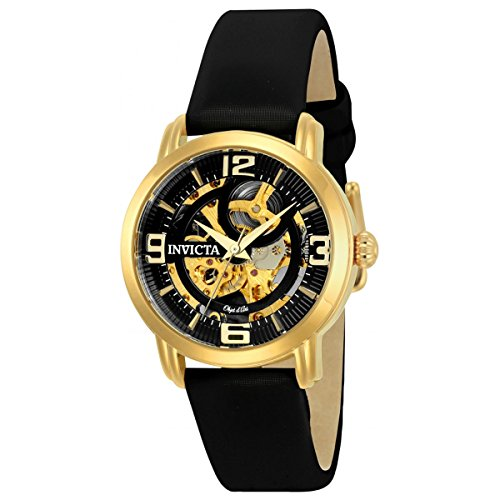 Invicta Women's 'Objet d'Art' Automatic Stainless Steel and Satin Casual Watch, Color:Black (Model: 22654)