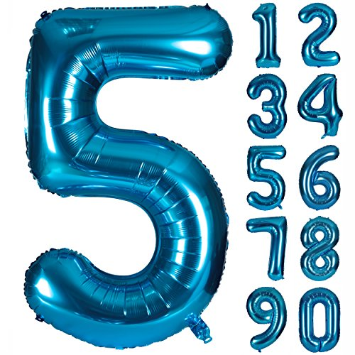 Angel&tribe 40 Inch Blue Numbers 0-9 Birthday Party Decorations Helium Foil Mylar Number Balloon Digital 5