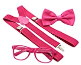 JAIFEI Hipster Nerd Outfit | Whimsical Sunglasses + Adjustable Suspenders + Bowtie Set | For Costume Parties & Hip Events (Hot Pink)