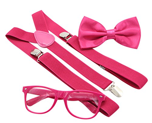 JAIFEI Hipster Nerd Outfit | Whimsical Sunglasses + Adjustable Suspenders + Bowtie Set | For Costume Parties & Hip Events (Hot Pink)]()