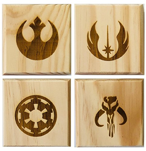 Star Wars Coasters (By Brindle Designs): Permanent engraved gift set of 4 wood coasters: Rebel Alliance, Mandalorian, Jedi Order, and Galactic Empire