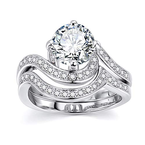 (Lateefah Bridal Set Promise Rings for Woman - 2.7ct Round Cut Cubic Zircoina Filigree Band Engagement Wedding Ring Set)