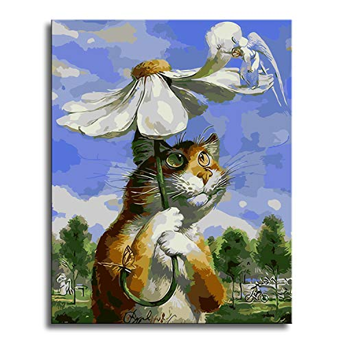 (Shukqueen DIY Oil Painting, Adults Kids and Beginner's Paint by Number Kits, Acrylic Painting Cat and Fairy 16X20 Inch)