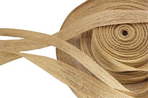 Pure Handmade Burlap Rolls Fish Silk Linen Ribbon 5Yard X 0.5Inch for Packaging Anniversaries and Holiday - La Linen Burlap Ribbon