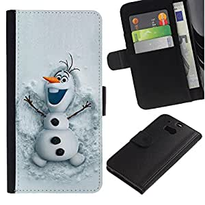 All Phone Most Case / Oferta Especial Cáscara Funda de cuero Monedero Cubierta de proteccion Caso / Wallet Case for HTC One M8 // Snowman Funny Winter Cartoon Kids
