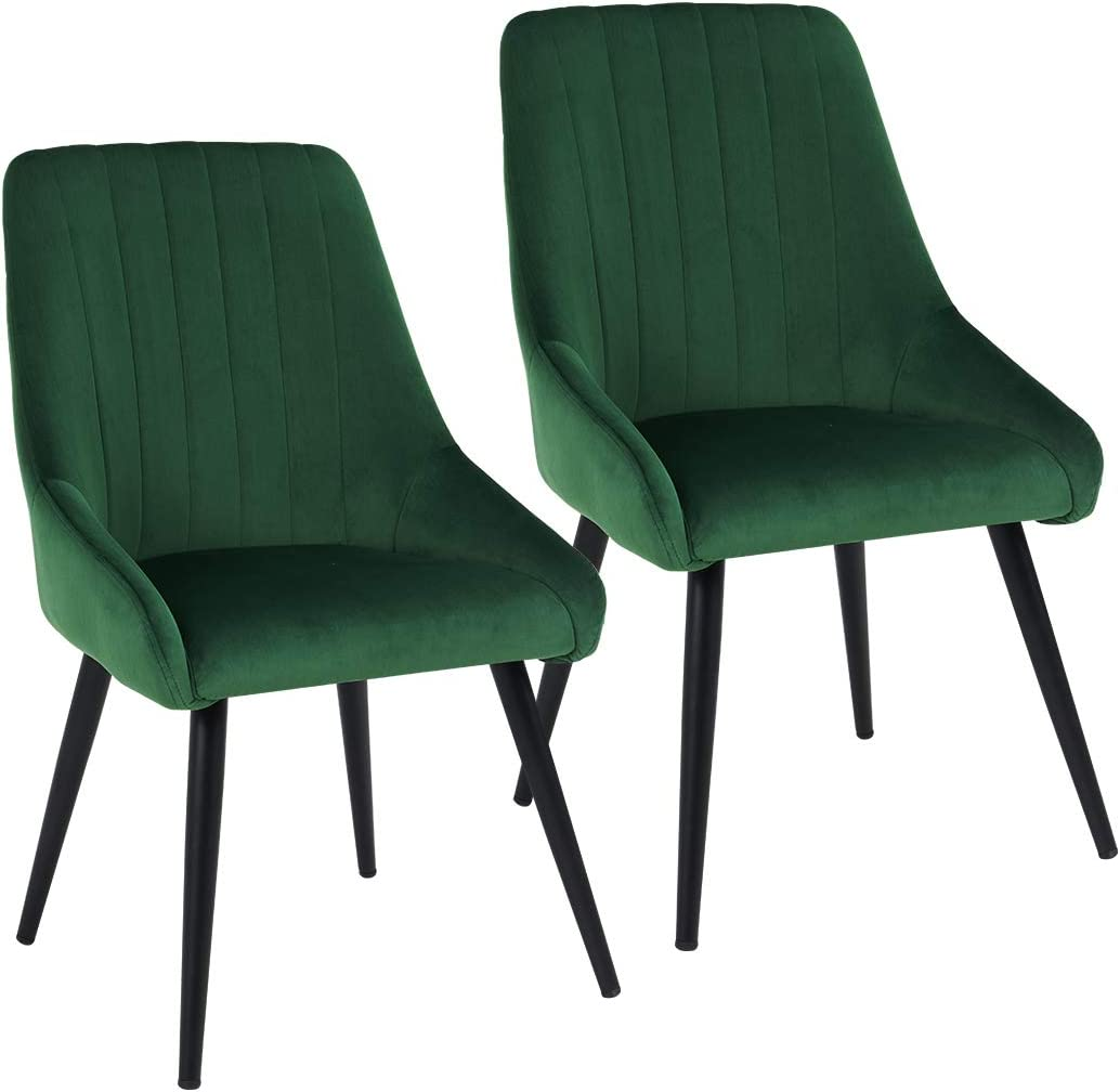 Duhome Accent Chairs for Living Room,Upholstered Dining Chairs Tufted Arm Chair Mid-Century High Back Chairs Velvet Set of 2 Green